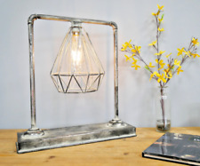 Industrial Metal Battery Pipe Table Lamp LED Bulb Desk Light Home Office Outdoor