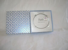 New Footnotes Expandable Stainless Steel Bangle Bracelet Faith Hope Love w/Cross