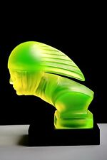"BOHEMIAN ART DECO  VASELINE GLASS CAR MASCOT - HOOD ORNAMENT "" BIKER""."