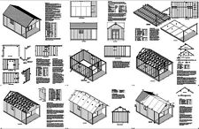20' x 12' Cabin / Guest House Building Covered Porch Shed Plans  #P62012