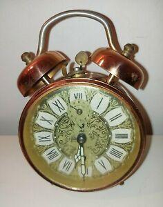 Vintage German Made `Jaz` Key wound copper finished Alarm clock