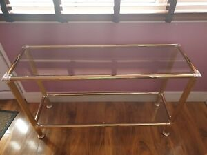 *Used* Lovely Gold Metal Glass Long Console Table - Home Deco