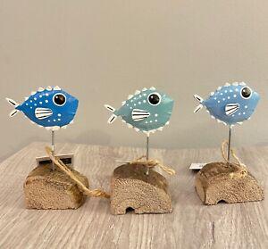 Blue single puffer fish standing ornament by shoeless joe. Sea-life home decor.