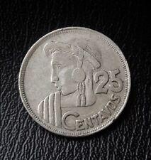 Guatemala 1959 25 centavos silver coin. Moneda plata