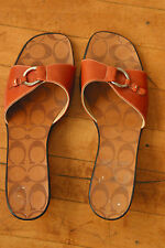 Coach Open Toe Slides Diana Italy Brown Leather Silvertone Summer Sandals 9B