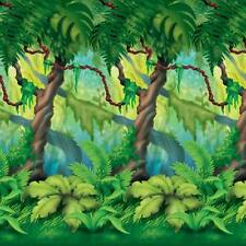 "Jungle Trees Plastic Backdrop 48"" x 30' Safari Jungle Zoo Birthday Party"