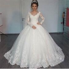 Sexy V Neck Lace Wedding Dress Elegant Long Sleeve Bridal Ball Gown Custom Made