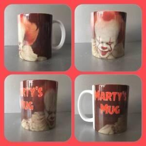 personalised mug cup IT it pennywise horror evil clown Stephen King killer death