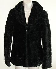 New Womens KUT From The Kloth Jacket Sz S Black Faux Vintage Poodle Fur Lined