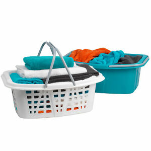 27 L White Russell Hobbs LA053879WHTEU Collapsible Plastic Oval Laundry Basket