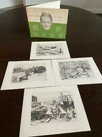 Lionel Barrymore No.3 Collector's Portfolio of Etchings Four Seaside Prints EUC
