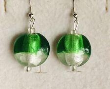 Stunning  Silver lined Emerald Green Murano  Glass Drop Earrings Version 2