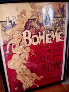 "La Boheme Opera Framed Poster Lithograph Reproduction 19x25"" Finished Sz Puccini"