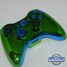 Xbox 360 Wireless Controller Official Custom Chrome Green & Blue Fast Dispatch