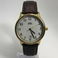 Vintage Timex 1994 Mens Indiglo Date Indicator Analog Wristwatch Sport Leather