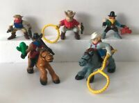 Fisher Price Great Adventure Western Cowboy Figures + Horses 1996 Lot of 7