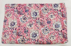 Kantha Quilt Hand Block Print Indian Blanket Cotton Bedspread Coverlet Bedding V