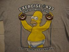 The Simpsons TV Series Homer Simpson Donut Exercise Funny Gray T Shirt Size M