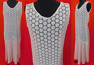 Vintage 1930s White Cotton Eyelet Circular Cutwork Polka Dot Bias Cut Dress