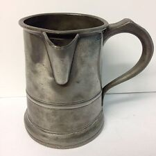 """Antique Pewter Quart Tankard With Pouring Spout With Inscription """"greyhound""""?"""