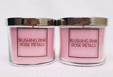 2 Bath & Body Works BLUSHING PINK ROSE PETALS 1-Wick Medium Jar Candle 4 oz NEW