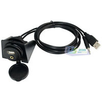 New Extend Audio Cable Lead 3ft Car Dashboard Flush Mount Panel USB 2.0 DC 3.5mm
