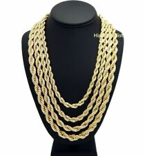 "Rope Chain Necklace 7mm to 10mm 20"" 22"" 24"" 26"" 30"" 14K Gold Plated Hip hop"