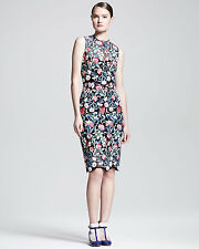 $5400 VALENTINO LACE DRESS FLORAL TAPESTRY GUIPURE BLACK RED BLUE GREEN 6 42