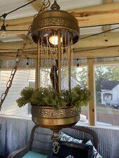 """VTG 60s Mineral Oil Rain Hanging Lamp WORKS Rare Nude Greek Goddess Johnston 30"""""""