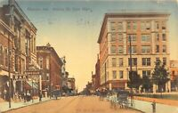 Hand Colored Postcard Walnut Street from Main Street in Muncie, Indiana~129130