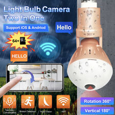 WiFi Outdoor IP Light Bulb Camera Home Security Wireless Night Vision +64G Card