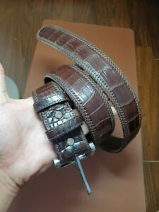 NO JOINTED GENUINE CROCODILE S BALLY LEATHER SKIN MEN'S BELTS 3.8cm width