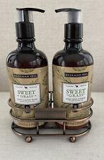 Beekman 1802 Sweet Grass Goat Milk Lotion & Hand & Body Wash 12.5 oz & Caddy New