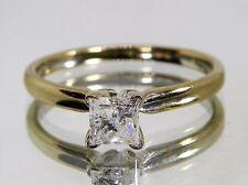 Vintage 14k Yellow Gold .50ct SI3/H princess diamond engagement ring Size 5.75