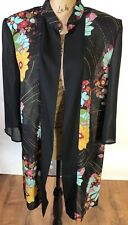 Colorful Sheer Black Floral Duster Kimono By Dana Kay Plus Size 16
