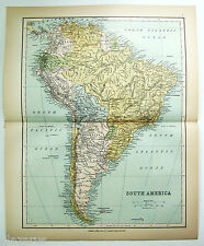 Original Map of South America by Wm Collins Sons & Co. c1875 Chromolithograph