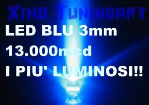 N10 LED BLU 3 mm BLUE 3mm 13.000mcd ULTRA LUMINOSI auto