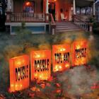 Set of 4 Lighted Pre Lit Orange Luminaries Display Outdoor Halloween Yard Decor