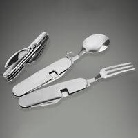 Outdoor Cutlery Stainless Steel 4 in 1 Folding Spoon Fork Knife Bottle Opener US