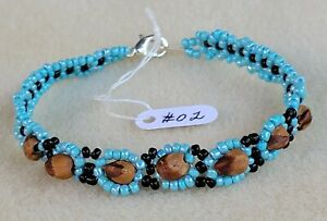 Turquoise & Black Beaded NAVAJO Bracelet GHOST Beads #02