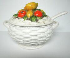Vintage Lefton Soup Tureen Set. Basket and Fruit Style