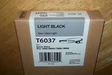10-2021 GENUINE EPSON T6037 LIGHT BLACK 220ml INK STYLUS PRO 7800 9800 7880 9880