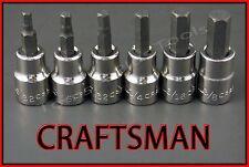 CRAFTSMAN HAND TOOLS 6pc 3/8 SAE Hex Allen key bit ratchet wrench socket set