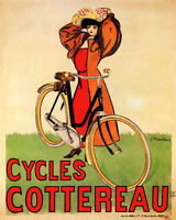 POSTER CYCLES COTTEREAU FRENCH BICYCLE FASHION GIRL BIKE VINTAGE REPRO FREE S/H