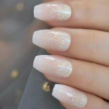 BALLERINA *GLITTER MANI BLEND* Full Cover Holo Coffin Transparent 24 Nails Glue!