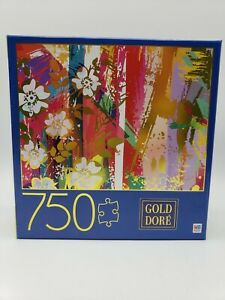 Sealed 750 Piece Puzzle Gold Dore Composition with Wild Roses 2019 Milton Bradle