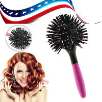 Protable 3D Bomb Curl Brush Styling Salon Round Hair Curling Curler Comb Tool US