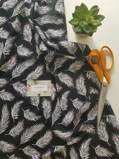 Black White Leaf Print Viscose Fabric Dress Skirt Blouse Sewing Crafts Material
