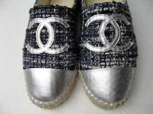 CHANEL Espadrilles SHOES Leather Tweed SILVER CC LOGO Multi-color SIZE 40