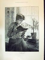 Old 1894 Beautiful Woman Reading Book Johnson Children Family Home De Victorian